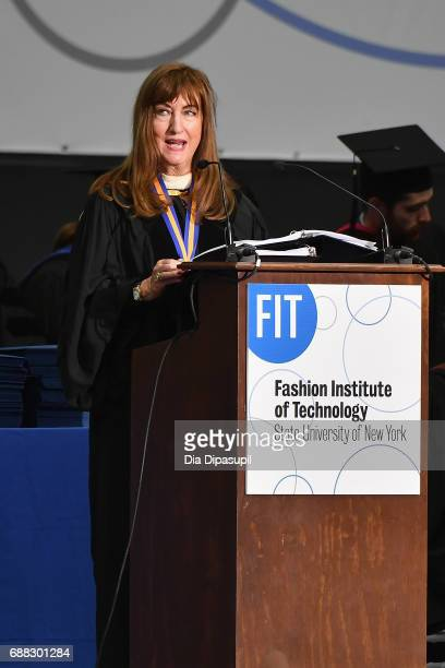 Professor Susan Rietman speaks onstage during The Fashion Institute of Technology's 2017 Commencement Ceremony at Arthur Ashe Stadium on May 25 2017...