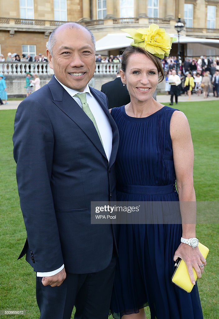 Professor TG Teoh and Dr Jo Bray attend a garden party at Buckingham Palace on May 24, 2016 in London, England.