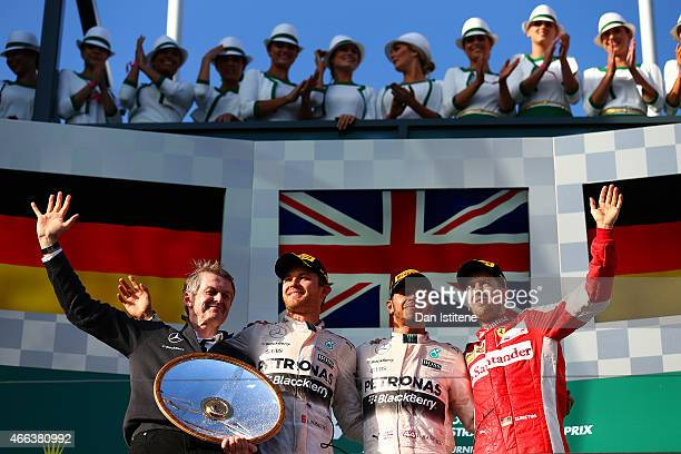 Professor Thomas Weber of Mercedes GP Nico Rosberg of Germany and Mercedes GP Lewis Hamilton of Great Britain and Mercedes GP and Sebastian Vettel of...