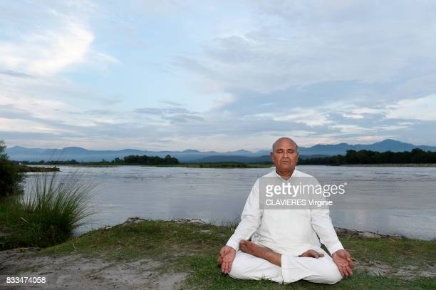 Professor Trilok Chand the great master of yoga on june 282017 in Rishikesh India