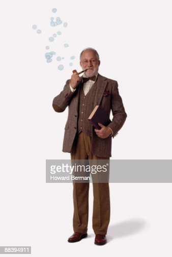 Professor with bubbles coming out of pipe