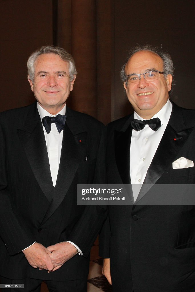 Professors David Khayat (R) and Jean-Noel Fabiani attend the gala dinner of Khayat's association 'AVEC', at Chateau de Versailles on February 4, 2013 in Versailles, France.