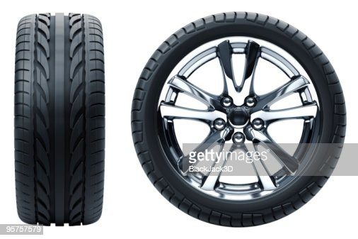 Profile and side profile view of a car wheel on white