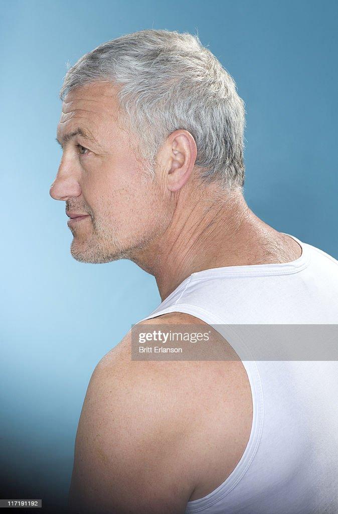 Profile grey hair man