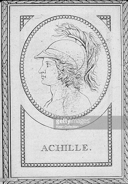 Profile illustration of Greek prince Achilles son of Peleus and Thetis as depicted on a bronze medal by J A Canini Achilles the chief war hero of the...