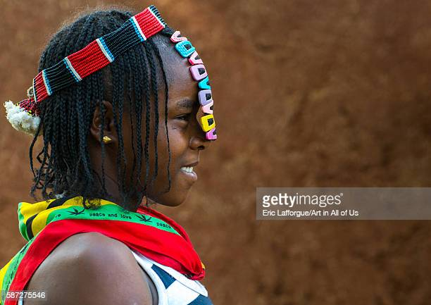 Profile of a bana tribe teenage girl with clips in the hair omo valley key afer Ethiopia on March 17 2016 in Key Afer Ethiopia