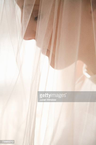 Profile of a bride under a veil