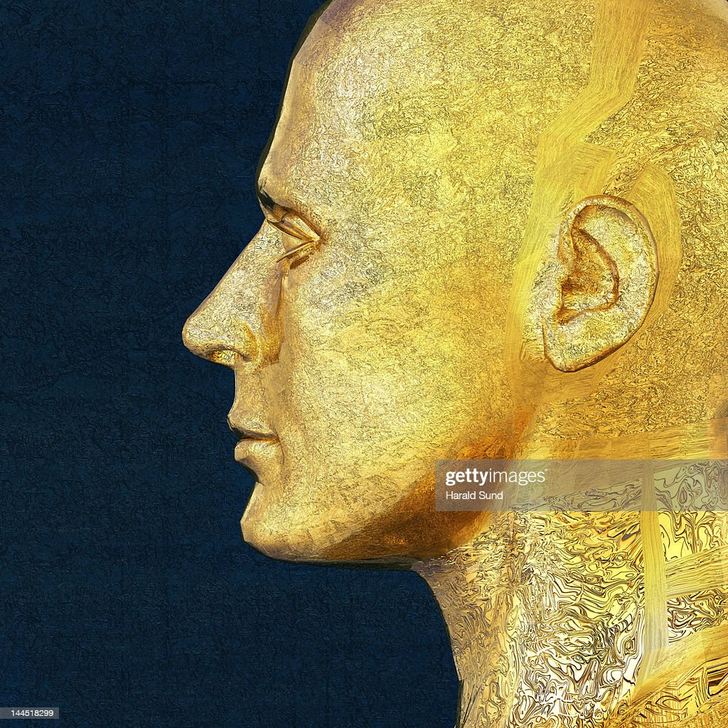 Profile of a golden metallic male head : Stock Photo