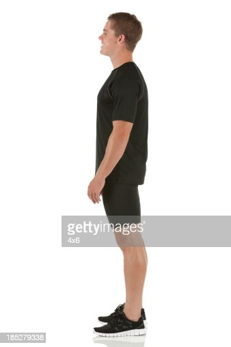 Profile of a male athlete standing