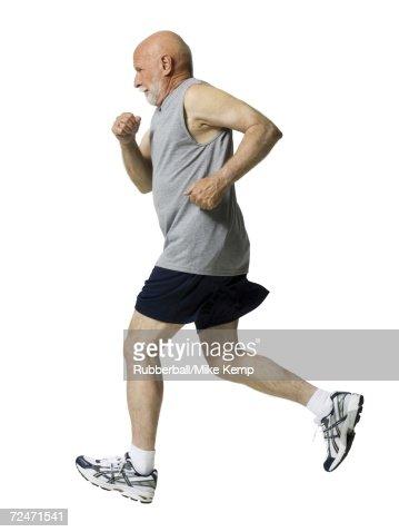 Profile of a senior man jogging