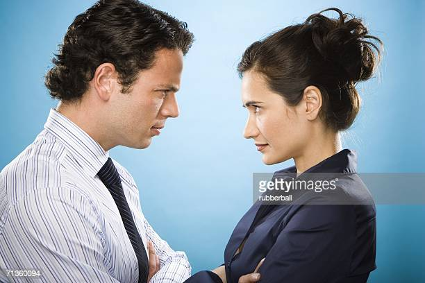Profile of a young couple looking at each other
