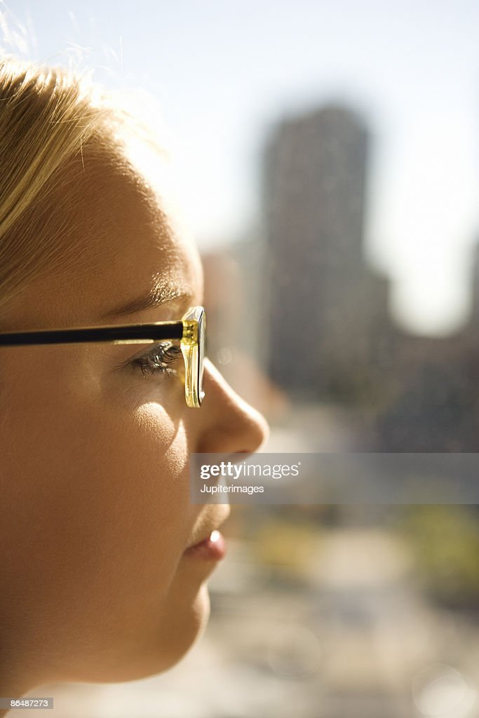 Profile of a young woman : Stock Photo