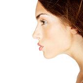 profile of attractive brunette