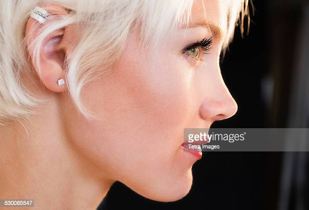 Profile of blonde woman