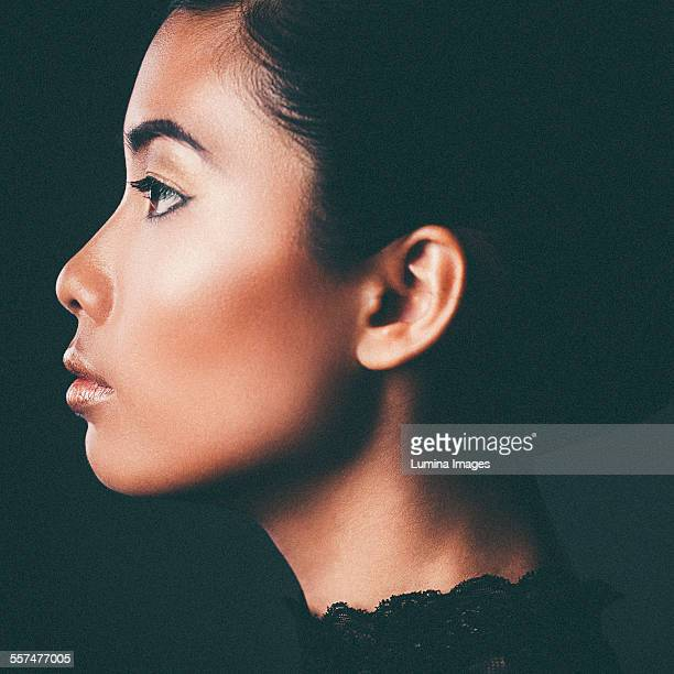 Profile of face of glamorous woman