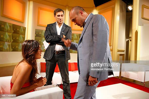 Profile of female host Silvia Toffanin with journalist Alfonso Signorini during a photo shoot about the backstage of Verissimo on September 26th 2008...