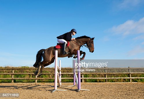 Profile of horse and rider jumping fence.