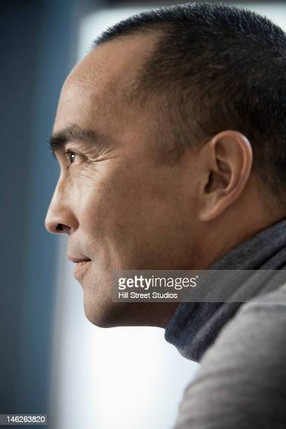 Profile of Japanese man