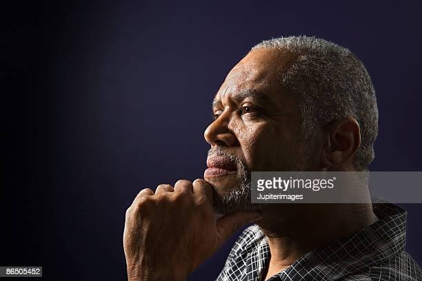 Profile of pensive man