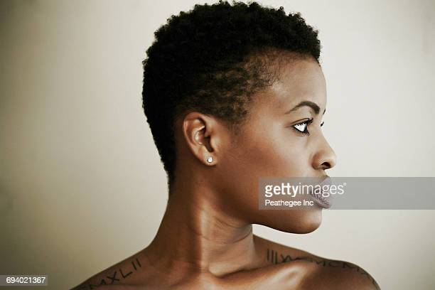 Profile of serious Black woman