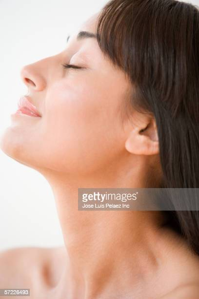 Profile of woman with eyes closed