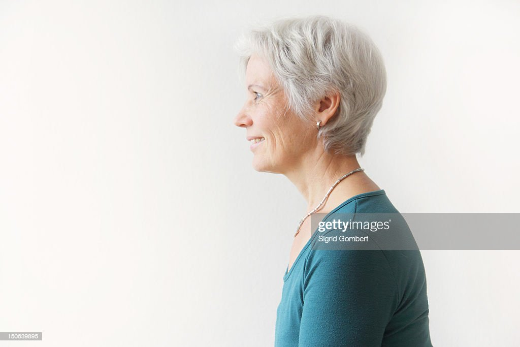 Profile of womans head and shoulders : Stock Photo