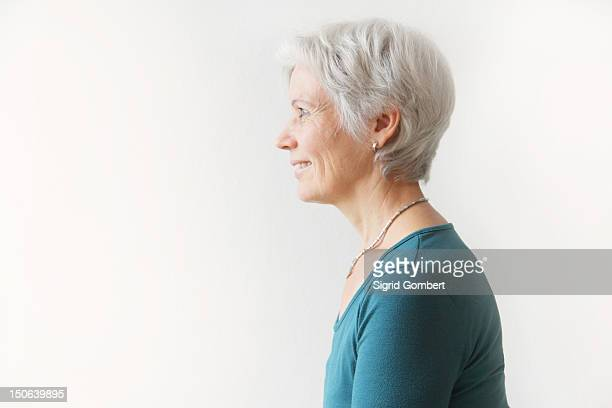 Profile of womans head and shoulders