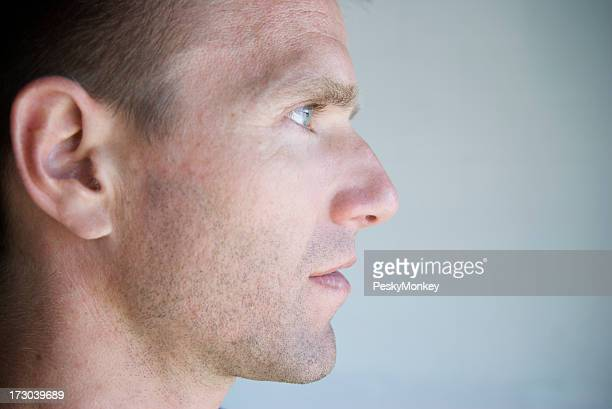 Profile of Young Man Close-Up Blue Eyes
