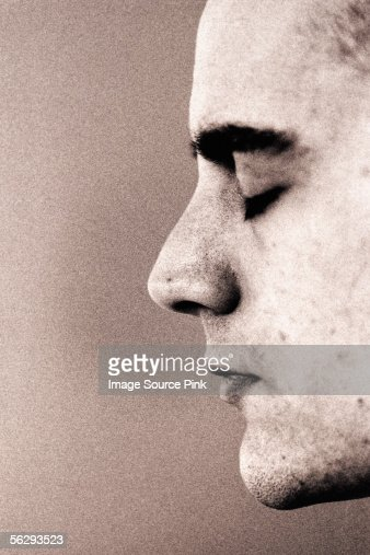 Profile of young man : Stock Photo