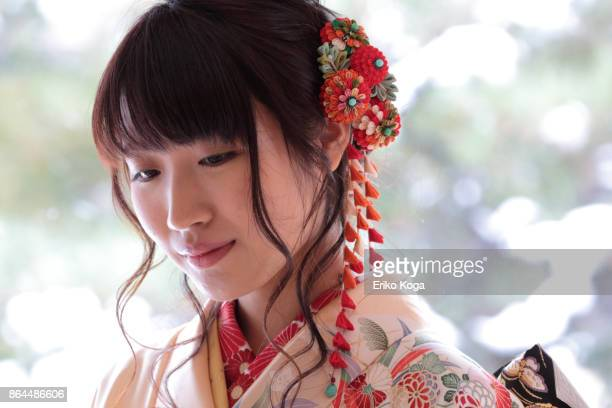 Profile of young woman of coming‐of‐age ceremony