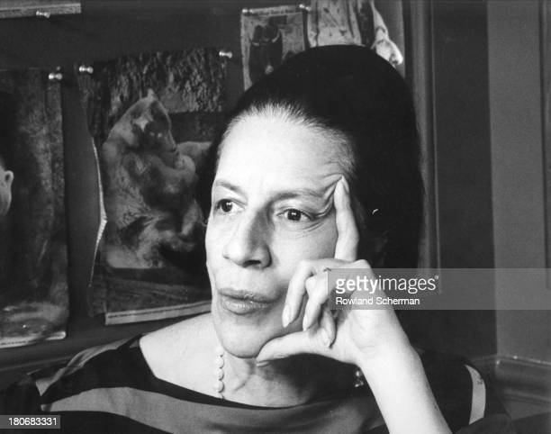 Profile portrait of American fashion editor Diana Vreeland in the Vogue magazine offices New York New York 1966