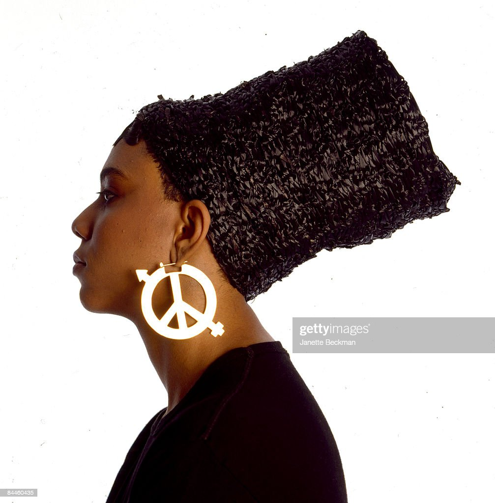 Profile portrait of hiphop artist Tycee, taken for the cover of her 1989 album, New York City.