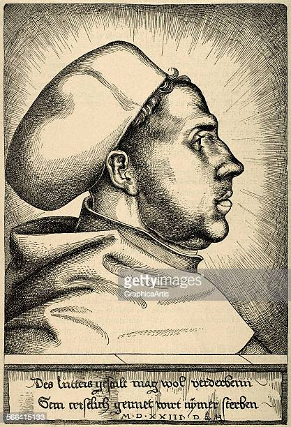 Profile portrait of Martin Luther by Daniel Hopfer engraving 1523