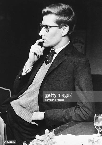 A profile portrait of the French fashion designer Yves SAINTLAURENT He was at the Adelphi Theater in London to attend the ballet adapted from the...