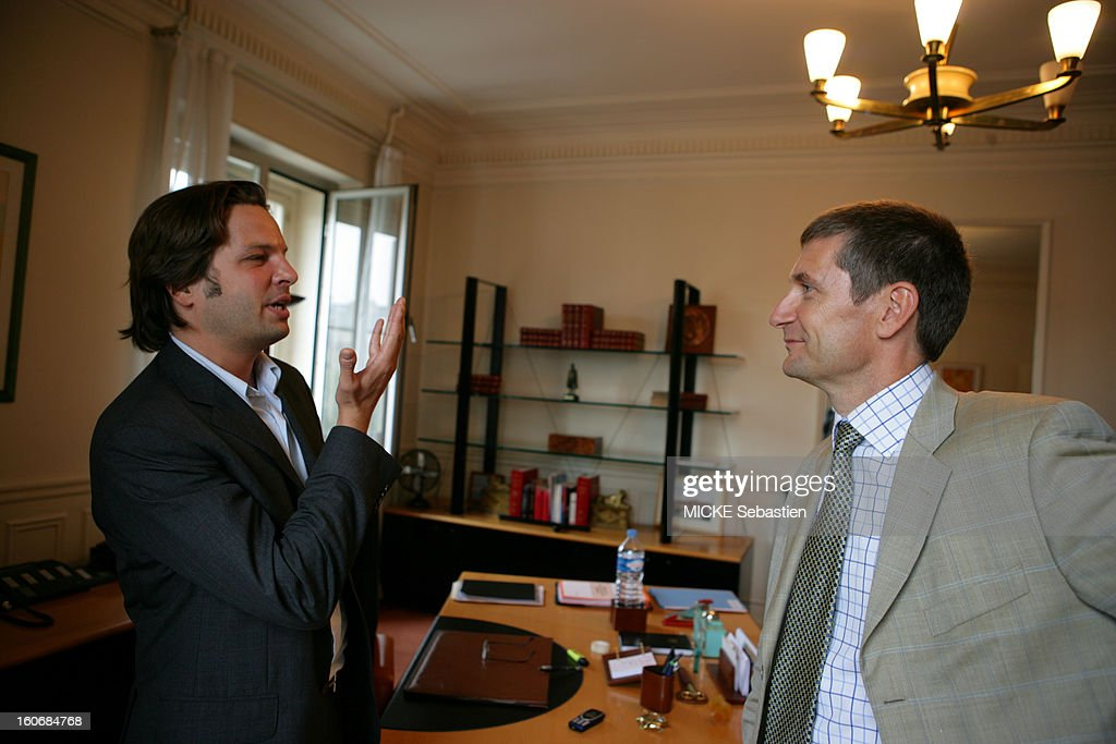 Profile shot of Frederic Péchenard, new boss of the criminal investigation, interview by Arnaud Poivre d'Arvor in his office at 36 quai des Orfevres in PARIS.