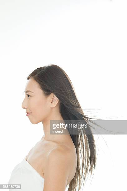 Profile view of young woman
