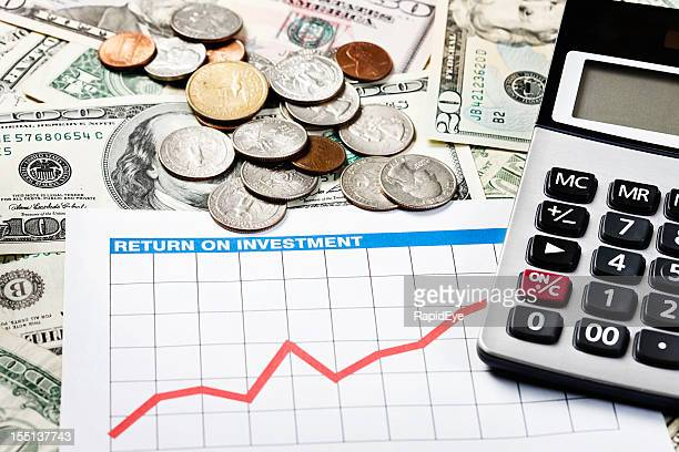 Profit center: rising graph and calculator on US currency