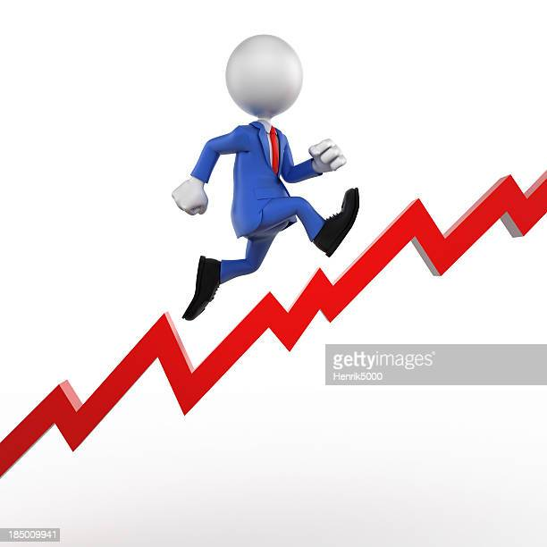 Profit increase with running businessman, isolated w. clipping path