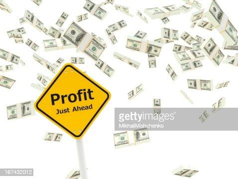 Profit just ahead road sign : Stock Photo