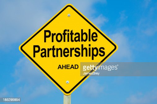 Profitable Partnerships Ahead Road Sign