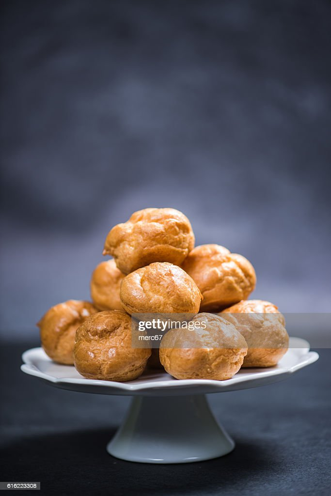 Profiterole eclair stack : Stock Photo
