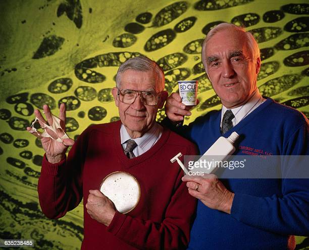 Profs Clinton Fuller and Bob Lenz hold up products made from plastics they developed at the University of Massachusetts The polymers are produced...
