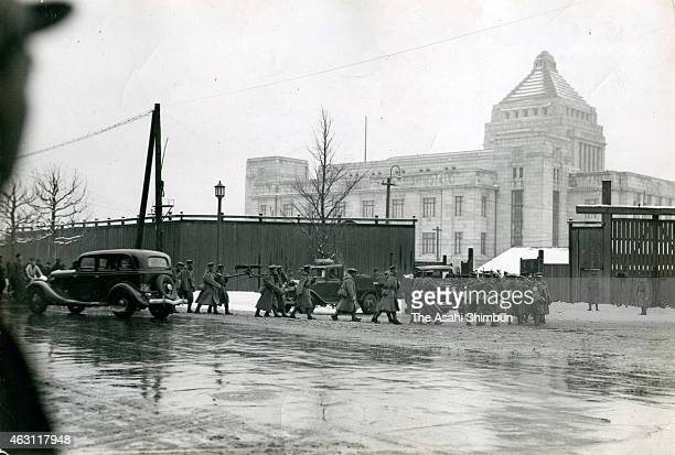 Progovernment army soldiers stand guard at the diet building during the February 26 Incident on February 26 1936 in Tokyo Japan