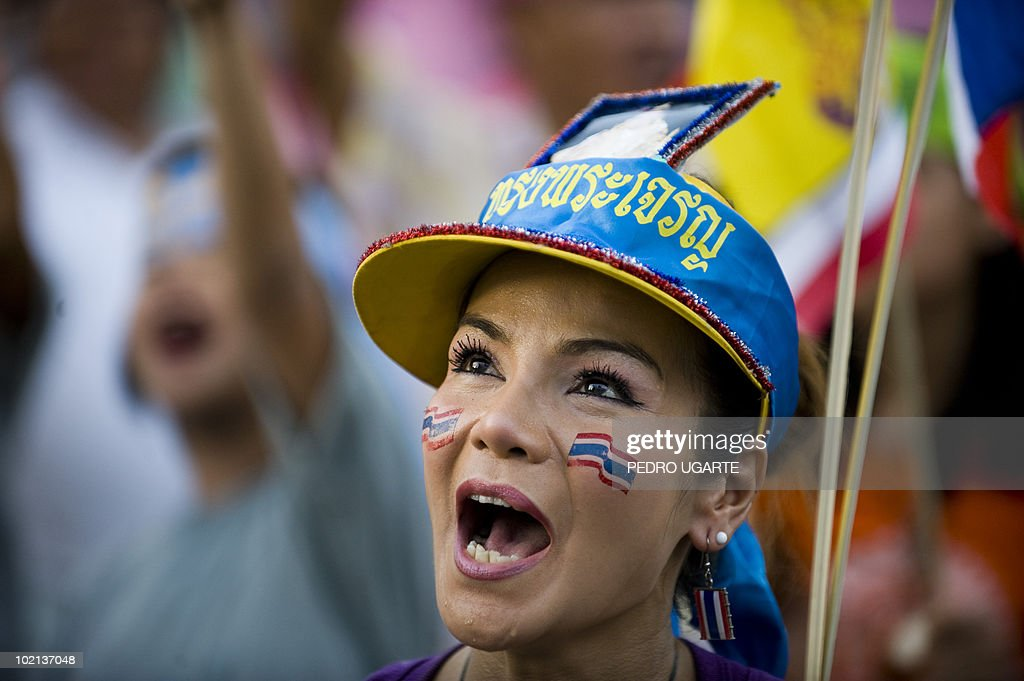 A pro-government demonstrators sings dur
