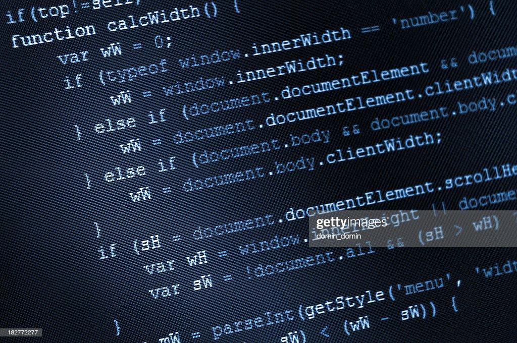 'Program code, HTML and JavaScript on LCD screen'