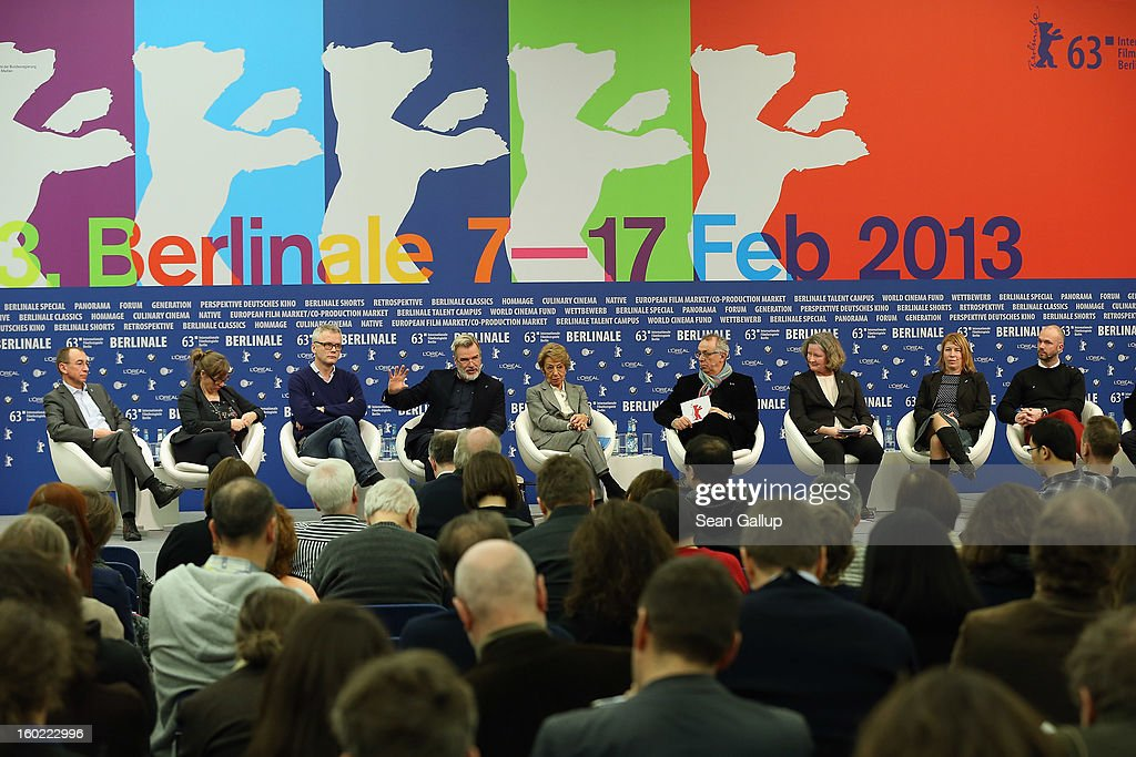 Program directors of the Berlinale International Film Festival, including Berlinale director Berlin Film Festival Director <a gi-track='captionPersonalityLinkClicked' href=/galleries/search?phrase=Dieter+Kosslick&family=editorial&specificpeople=213030 ng-click='$event.stopPropagation()'>Dieter Kosslick</a> (4th from R), speak at the opening press conference of the 63rd Berlinale on January 28, 2013 in Berlin, Germany. The 63rd Berlinale will run from February 7-17.