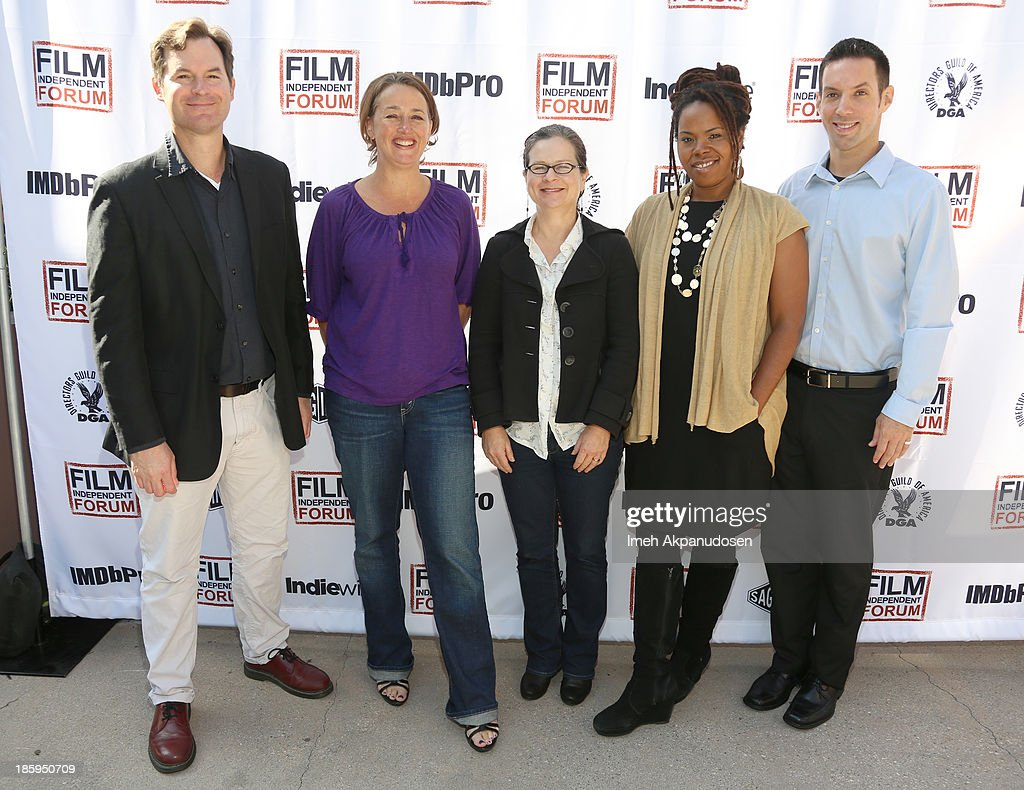 Program Officer, The California Documentary Project and moderator John Lightfoot, Director, San Francisco Film Society's Filmmaker360 Michele Turnure-Salleo, Co-Founder, Catapult Film Fund Lisa Kleiner Chanoff, Director, Sundance Documentary Film Program Rahdi Taylor and Managing Director, Latino Public Broadcasting Luis Ortiz attend the Film Independent Forum at the DGA Theater on October 26, 2013 in Los Angeles, California.