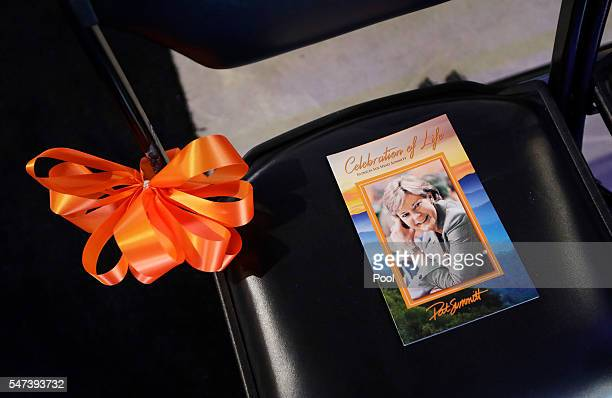 A program sits on a chair in ThompsonBoling Arena before a ceremony to celebrate the life of former Tennessee women's basketball coach Pat Summitt on...