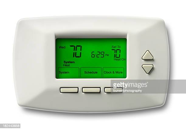 Programmable thermostat set at 70 degrees
