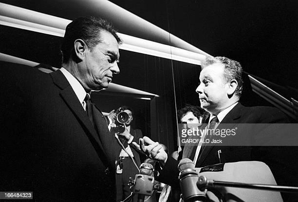 Programme 'A Armes Egales' With Francois Georges And Ceyrac Seguy France 28 octobre 1970 François CEYRAC président du Conseil national du patronat...